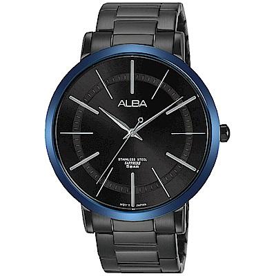 ALBA雅柏 極光情人時尚手錶(AH8483X1)-黑x藍框/44mm