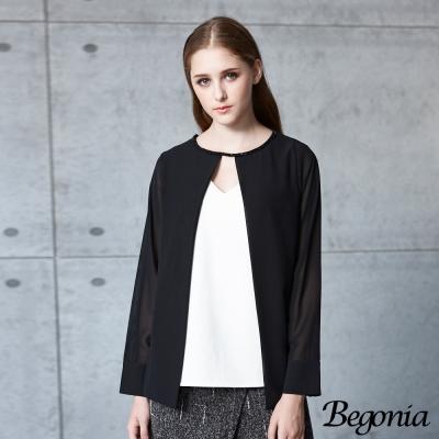 Begonia 假兩件縫珠領雙V開衩雪紡上衣(共二色)