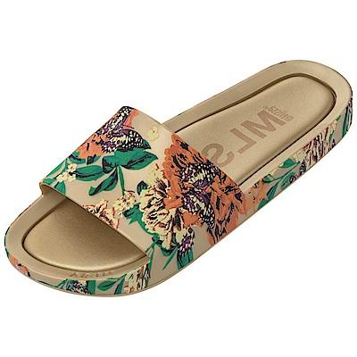 Melissa 彩繪春天印花時尚拖鞋-金色