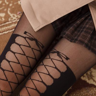 蒂巴蕾ART 膝上型彈性絲襪-蝴蝶結