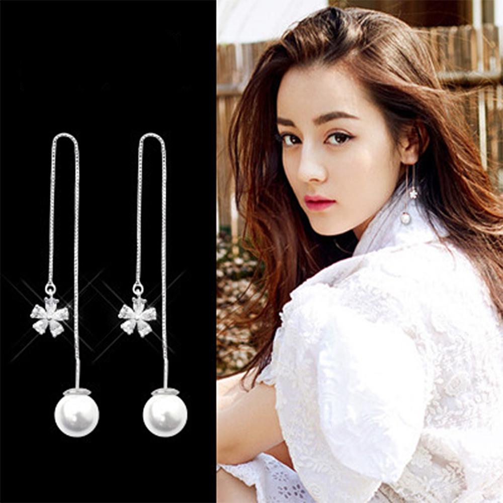 梨花HaNA 韓國925銀針皓石花朵晶緻女人感珍珠耳線耳環