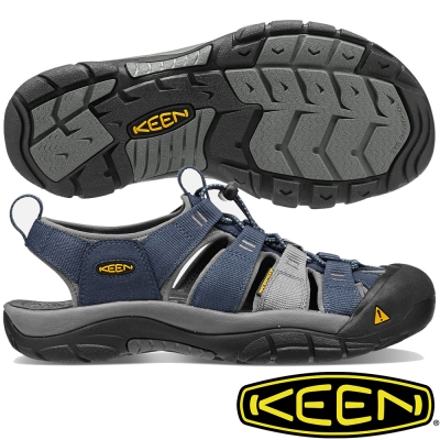 KEEN 男戶外護趾涼鞋 NewPort H2-1012206深藍/灰