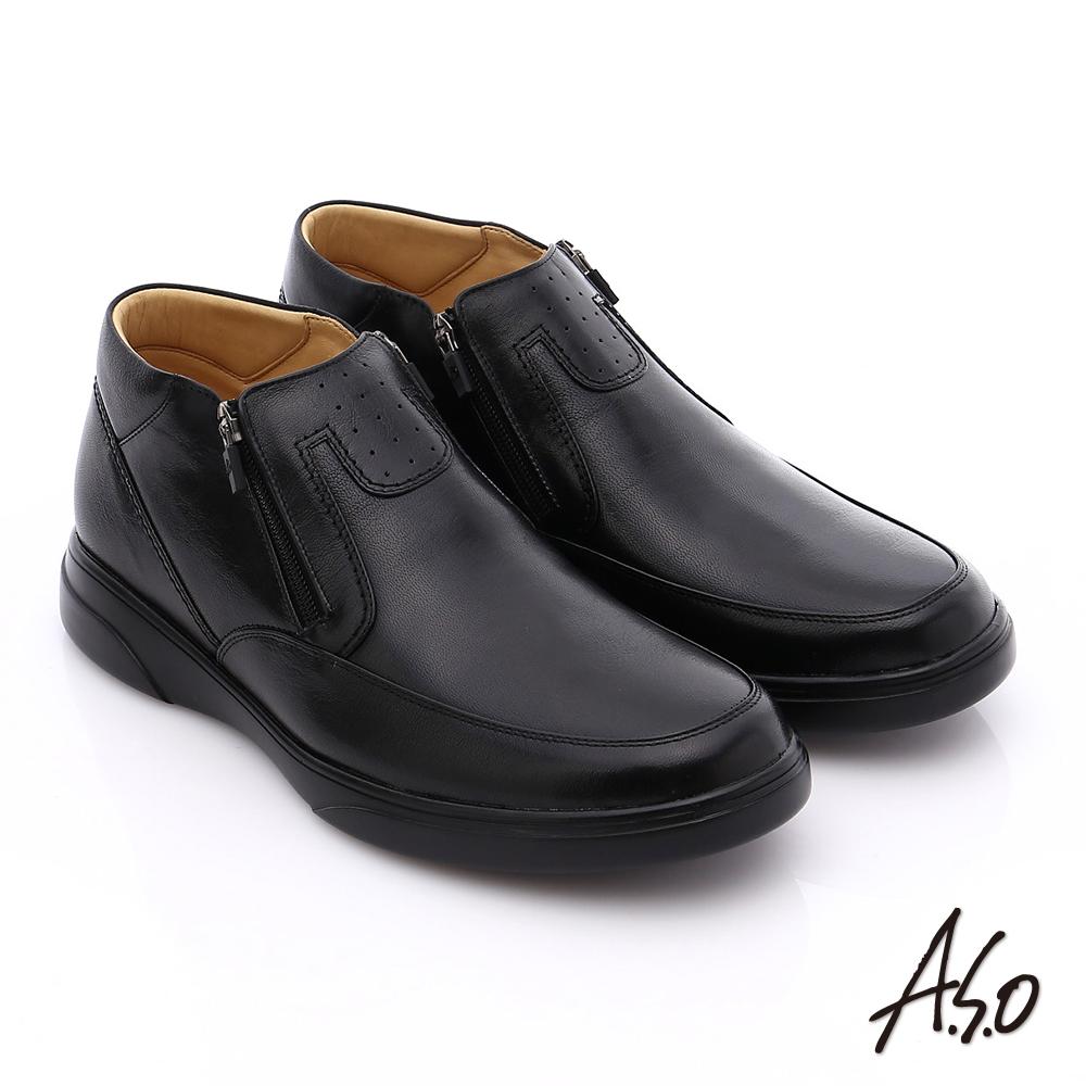 A.S.O 厚切氣墊 羊皮直套式拉鏈奈米氣墊皮鞋 黑