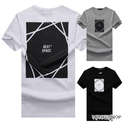 Monkey Shop 台灣製best space方塊印花短袖T恤-3色