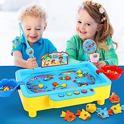 JoyNa 兒童磁性旋轉音樂電動釣魚達人玩具
