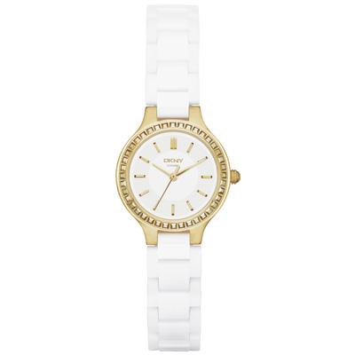 DKNY 低調巴黎陶瓷都會腕錶-銀白x金/28mm