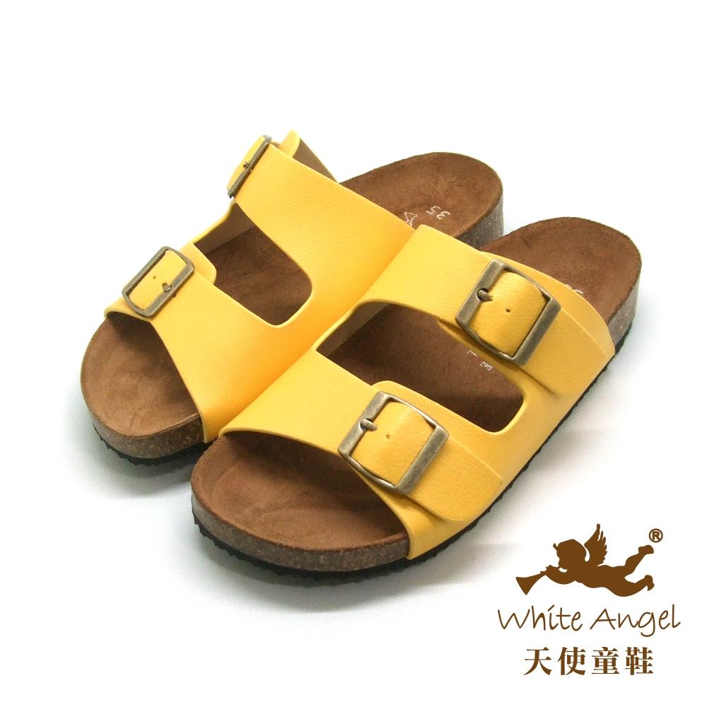天使童鞋-J838 悠閒馬德里親子拖鞋(超大童)-黃