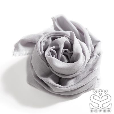 SOFER-經典素色100-羊毛保暖披肩-圍巾-青瓷灰