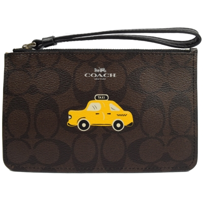 COACH-紐約限定版Taxi經典PVC手拿包-深咖-黑
