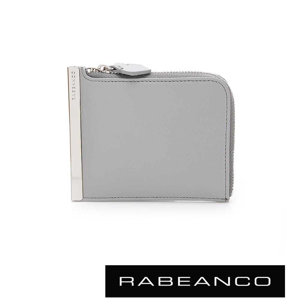 RABEANCO 金屬邊條L-ZIP設計經典短夾 雲霧灰