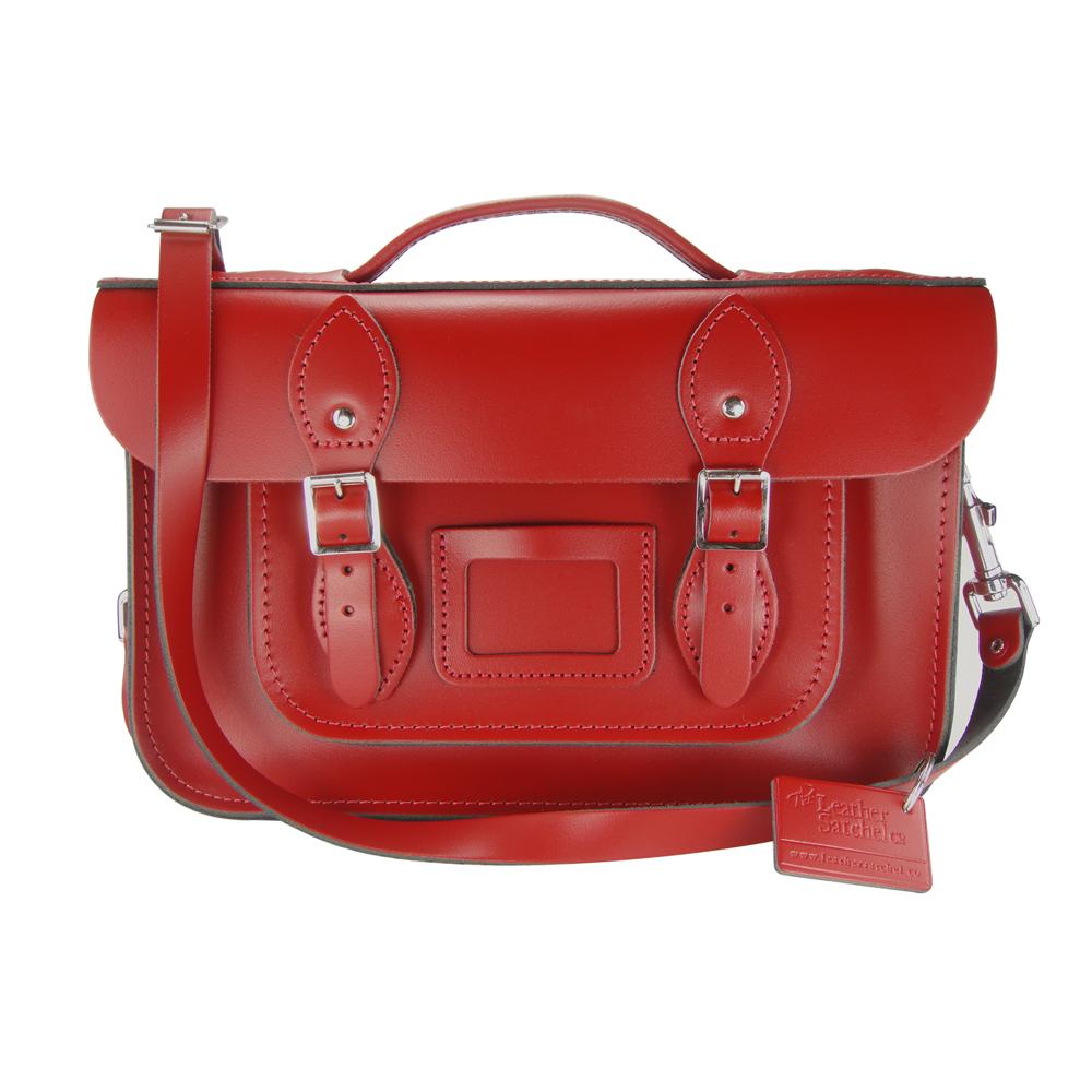 The Leather Satchel 英國手工牛皮劍橋包 肩背手提包 心機紅 12.5吋
