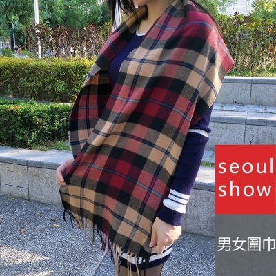 Seoul Show 經典條格紋仿羊絨圍巾11款 卡其 藍線紅線格