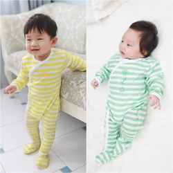 baby童衣 海軍風簡約條紋包腳連身衣 61131