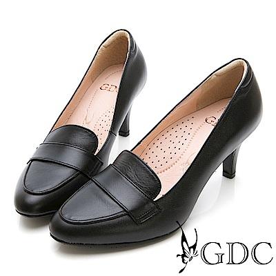 GDC-真皮英倫氣質細跟尖頭鞋-黑色