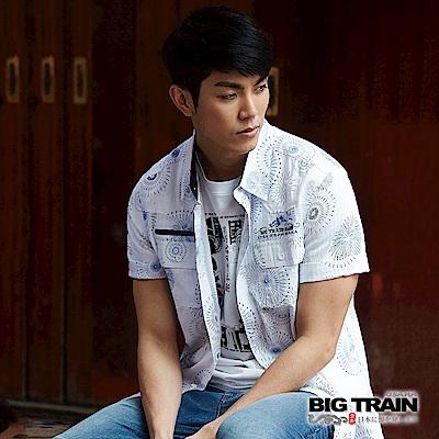 BIG TRAIN 和風印花短袖襯衫-男-白色