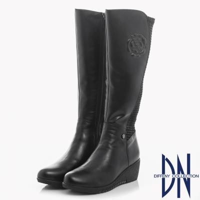 DN 經典復古 牛皮拼接異材質花紋楔型長靴-黑