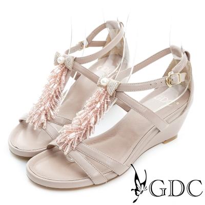 GDC-蝴蝶結水鑽流蘇T字真皮楔型厚底涼鞋-粉色