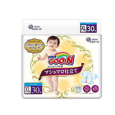 GOO.N日本大王黏貼型紙尿褲(XL)30片x6包/箱-珍珠棉柔版