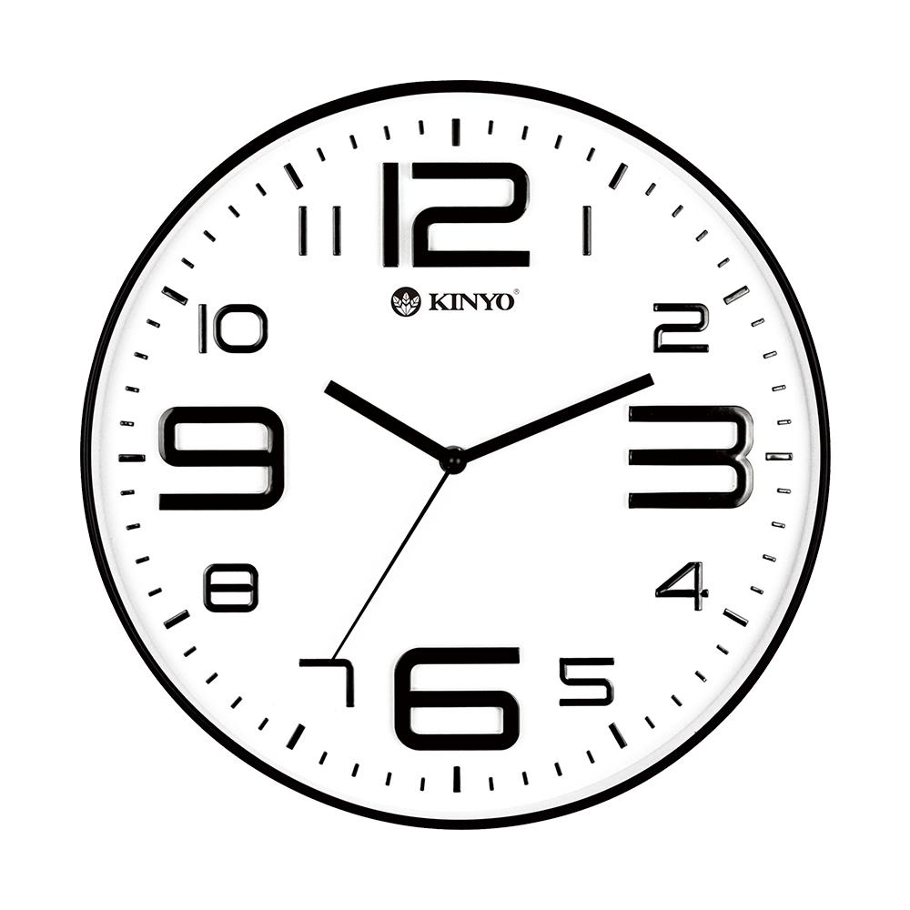 KINYO簡約浮雕靜音掛鐘CL141