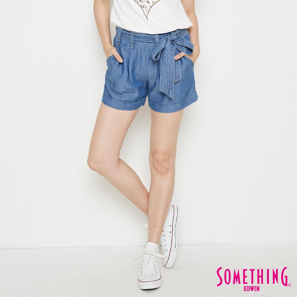SOMETHING 天絲®綁帶造型短褲-女-漂淺藍