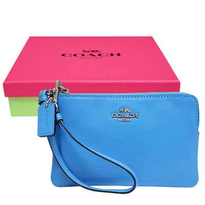COACH 立體馬車皮革L型手拿包-天藍色(附原廠禮盒)