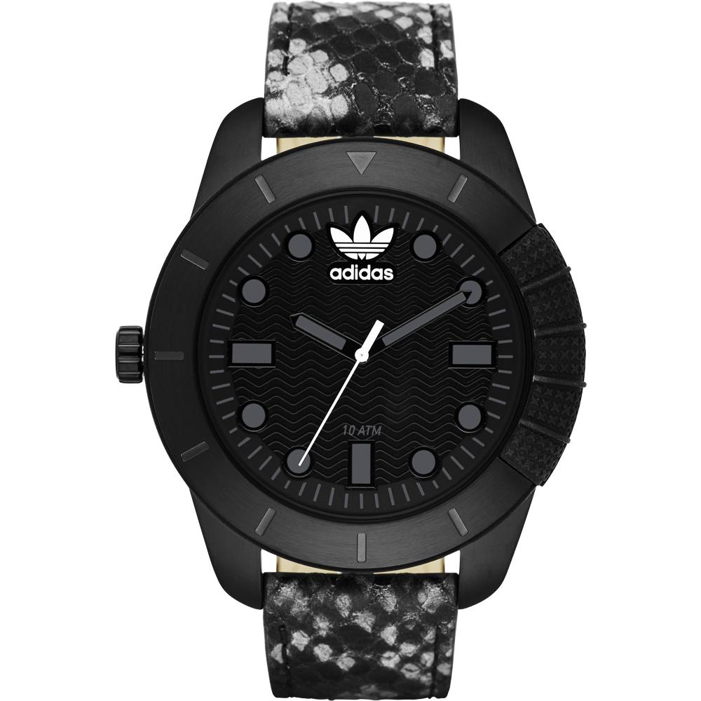 adidas Originals 左錶冠霸氣經典腕錶-黑x蛇紋/48mm