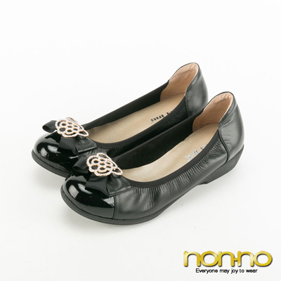 nonno-復古碎花蝴蝶結楔型跟鞋-黑
