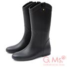 G.Ms. 織帶鉚釘心機內增高中筒雨靴-黑色