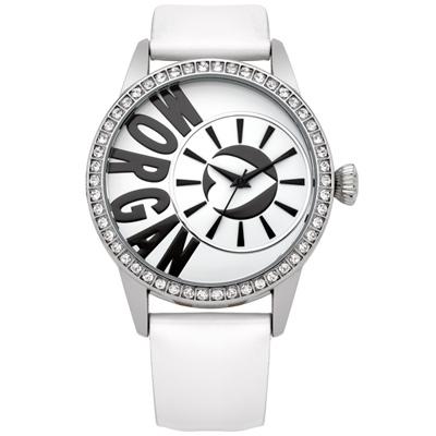 MORGAN 新穎風格晶鑽時尚腕錶-銀x白/40mm