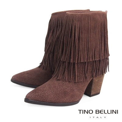 Tino Bellini 巴西絕美雙層流蘇高跟短靴_深駝