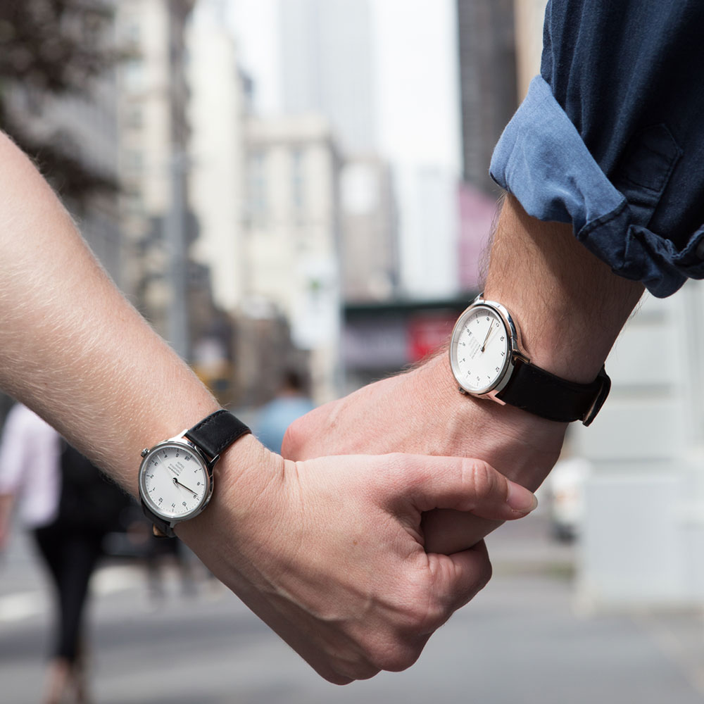 MONDAINE 瑞士國鐵Helvetica 聯名腕錶-白/40+36mm對錶