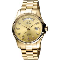 ENICAR 英納格 自動系列璀燦晶鑽機械腕錶-金/40mm