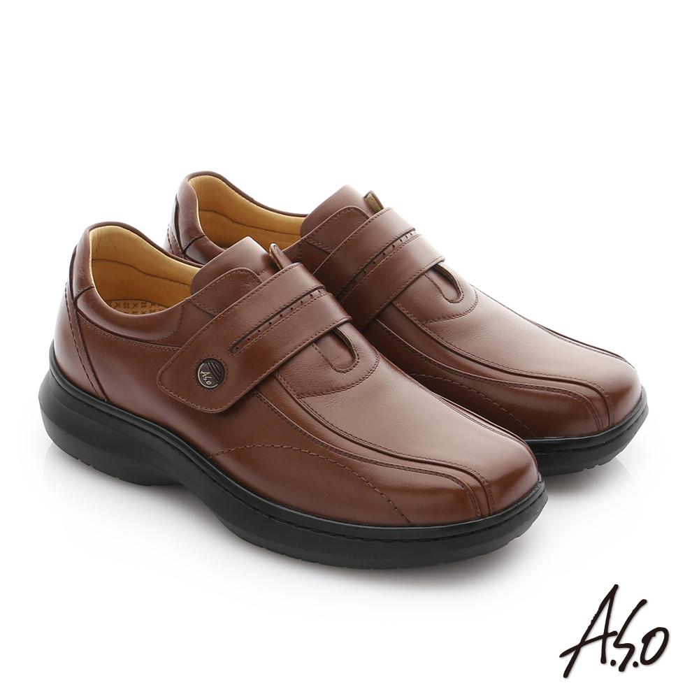 A.S.O 奈米健康氣墊 油感牛皮魔鬼氈紳士休閒皮鞋 咖啡色