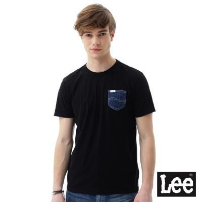 Lee 短袖T恤  牛仔口袋短袖圓領TEE/RG-男款-黑