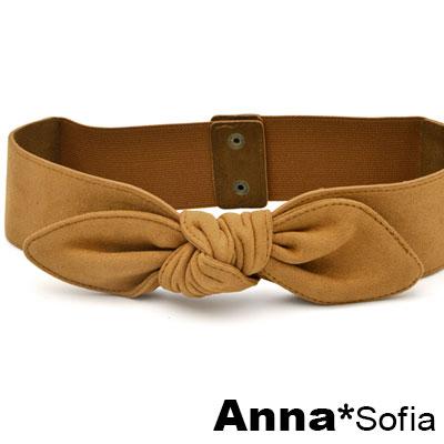 AnnaSofia 訂製款麂皮絨中央綁結 彈性寬腰帶腰封(黃駝系)