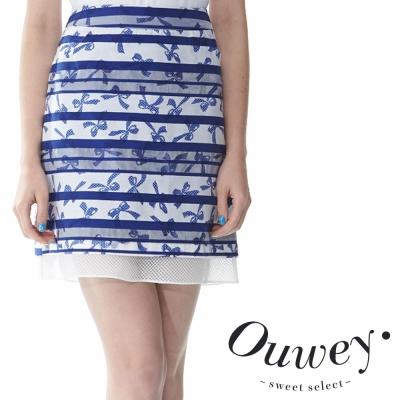 OUWEY歐薇-可愛蝴蝶雙層歐根紗A字裙