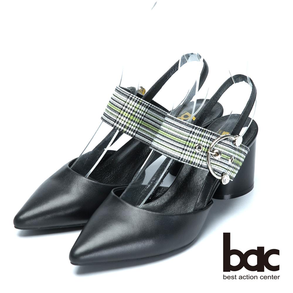 bac時尚混搭格紋混搭真皮低跟涼鞋-黑
