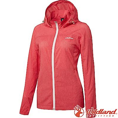 Wildland 荒野 0A61905-15珊瑚紅 女可溶紗環保透氣外套