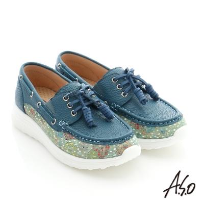 A.S.O 輕量抗震 真皮花皮拼接奈米健走休閒鞋 深藍色