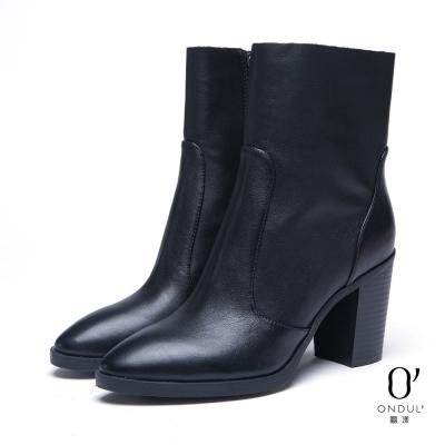 達芙妮x高圓圓-圓漾系列-短靴-真皮拼接尖頭高跟中筒靴-黑