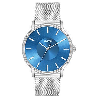 GOTO THINK簡約米蘭時尚手錶-藍/43mm