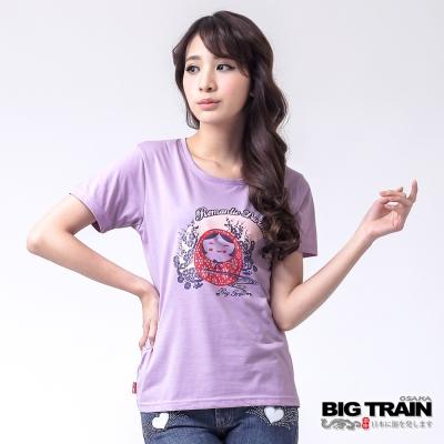 BIG TRAIN 福達磨月櫻圓領TEE-女-淺紫