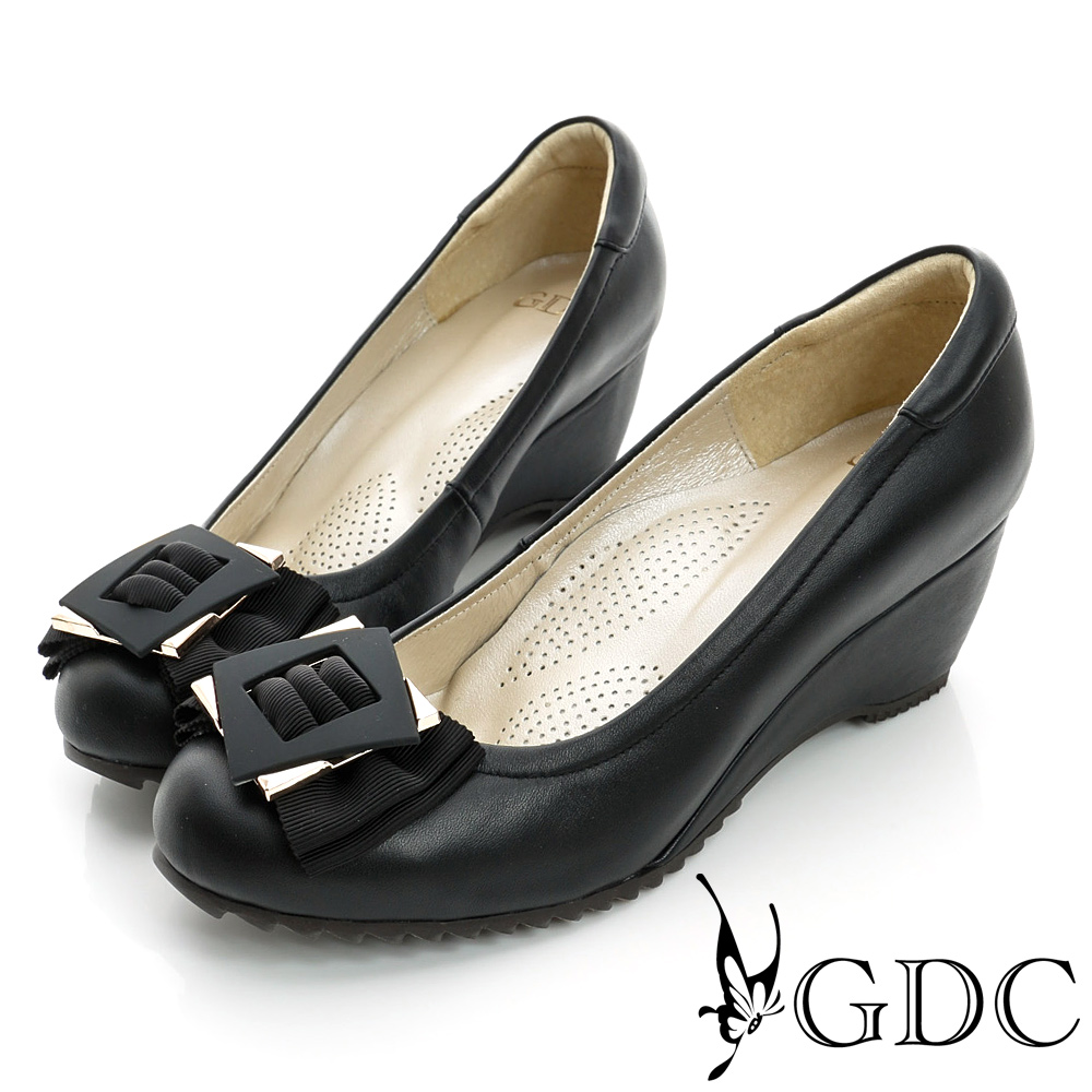 GDC都會-方型飾扣楔型厚底真皮中跟鞋-黑色