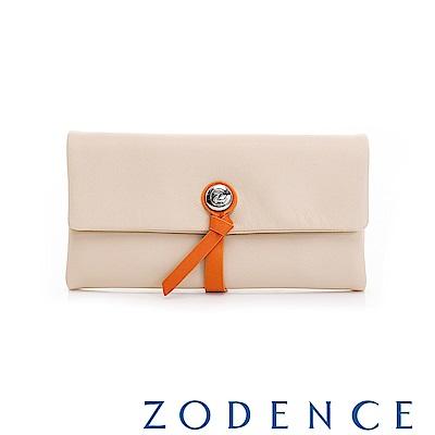 ZODENCE義大利羊皮柔軟繩扣設計長夾 淺杏