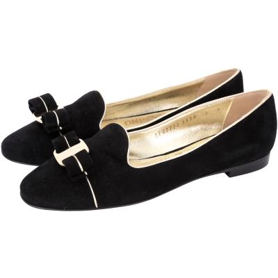 Salvatore Ferragamo SCOTTYPIPI 鑲邊麂皮樂褔鞋(黑)