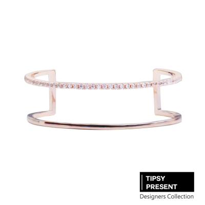 微醺禮物 韓製 手環 鋯石 鍍16K金 時尚雙環 開口式