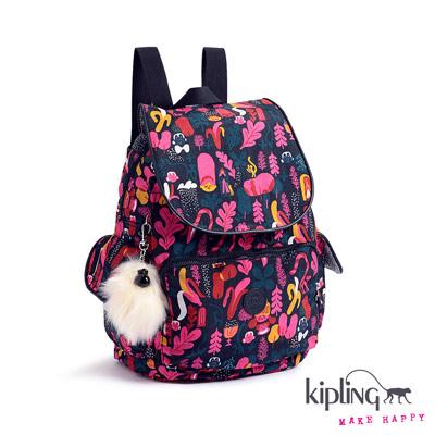 Kipling-後背包-艷彩花卉猴紋印花
