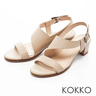 KOKKO-夢醒時分真皮交叉帶粗跟涼鞋-清雅米