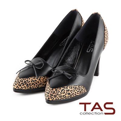 TAS-動物紋拼接蝴蝶結尖頭高跟鞋-豹紋黑