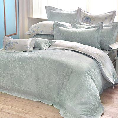 義大利La Belle 奢華約定 特大天竹緹印花四件式防蹣抗菌舖棉兩用被床包組